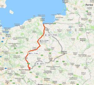 Карта от Гданьска до Вроцлава